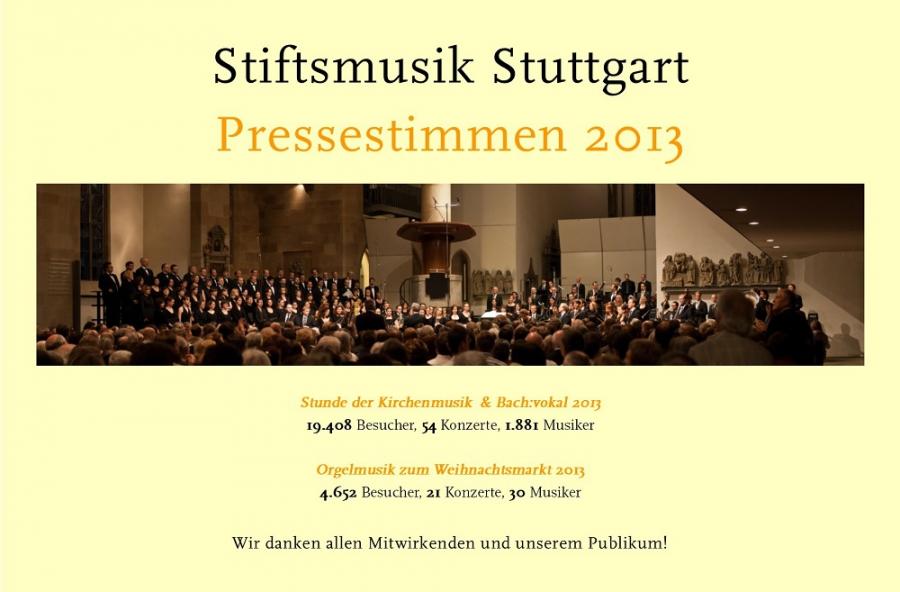 Pressestimmen 2013 - Stiftsmusik Stuttgart