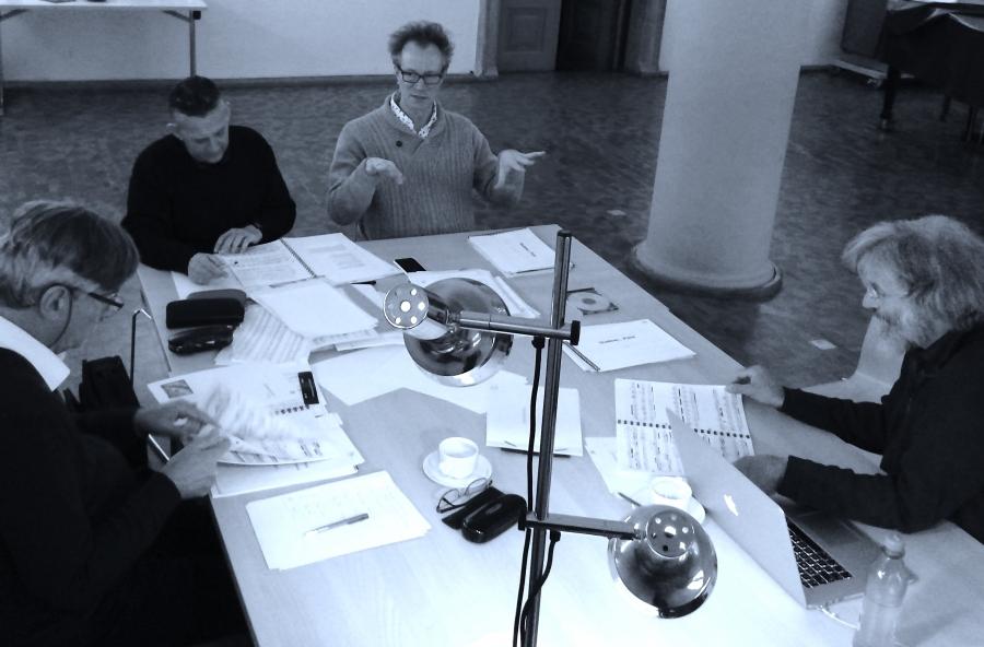 Jury-Sitzung mit Prof. Jon Laukvik, Prof. Axel Ruoff, Gunnar Idenstam, Prof. Daniel Glaus
